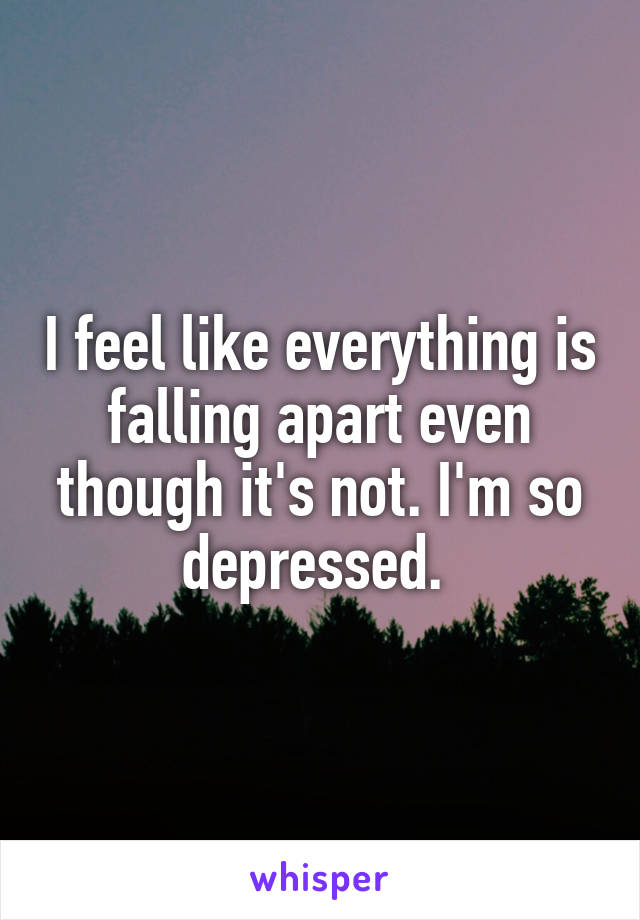 I feel like everything is falling apart even though it's not. I'm so depressed.