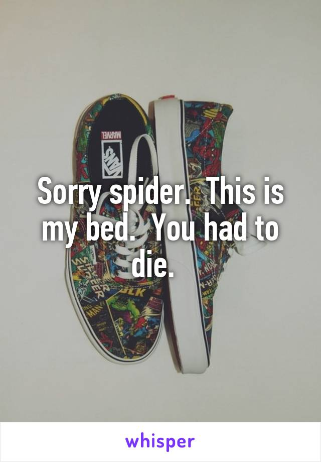 Sorry spider.  This is my bed.  You had to die.