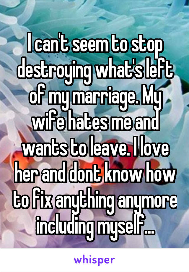 I can't seem to stop destroying what's left of my marriage. My wife hates me and wants to leave. I love her and dont know how to fix anything anymore including myself...