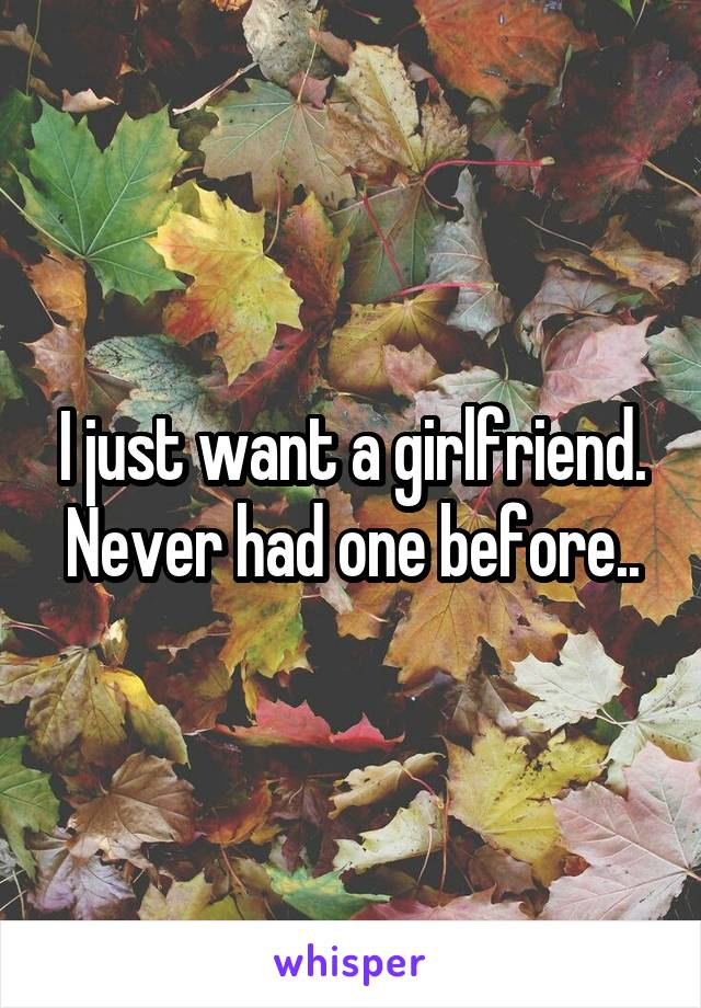 I just want a girlfriend. Never had one before..