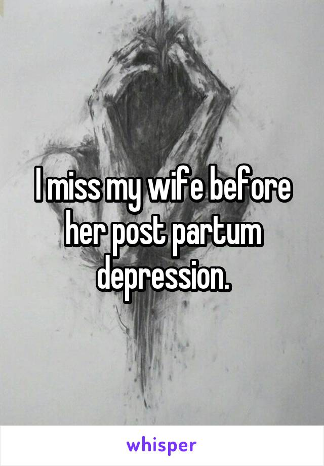 I miss my wife before her post partum depression.