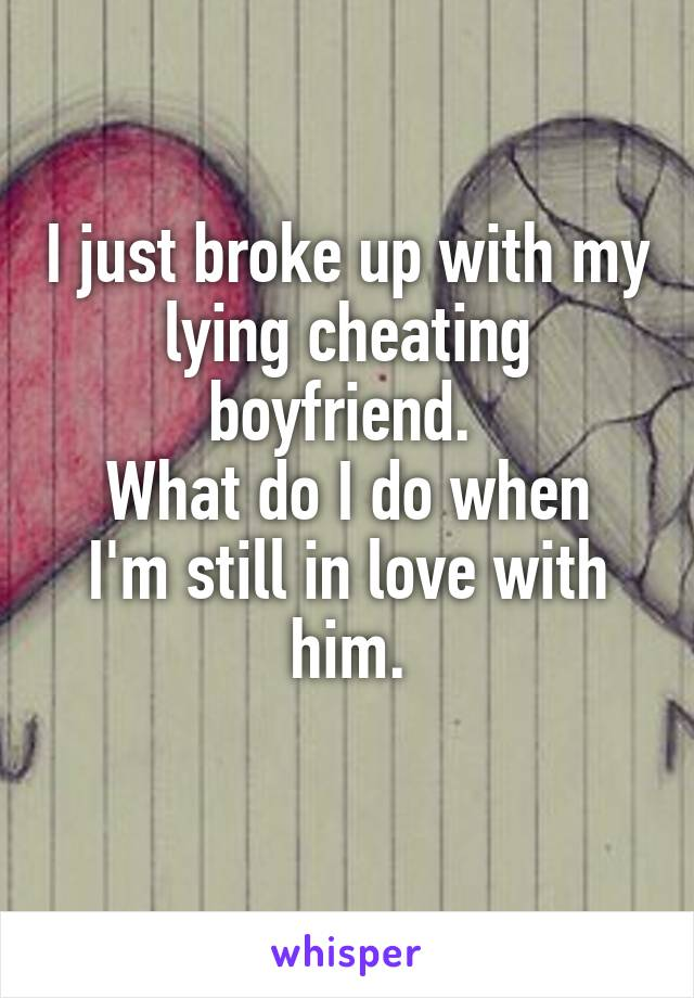 I just broke up with my lying cheating boyfriend.  What do I do when I'm still in love with him.