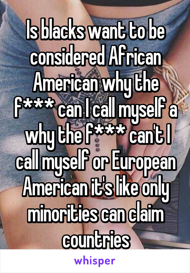 Is blacks want to be considered African American why the f*** can I call myself a  why the f*** can't I call myself or European American it's like only minorities can claim countries