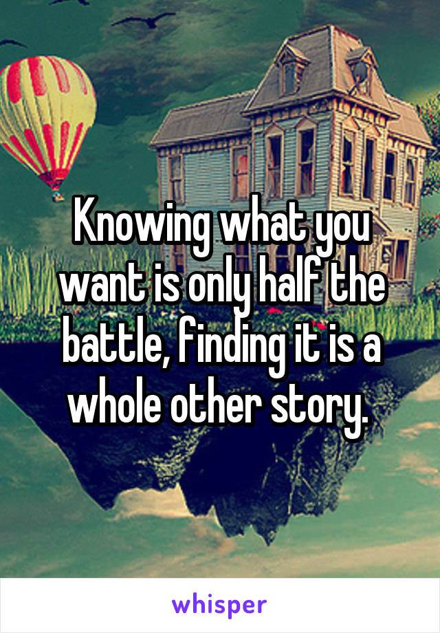 Knowing what you want is only half the battle, finding it is a whole other story.