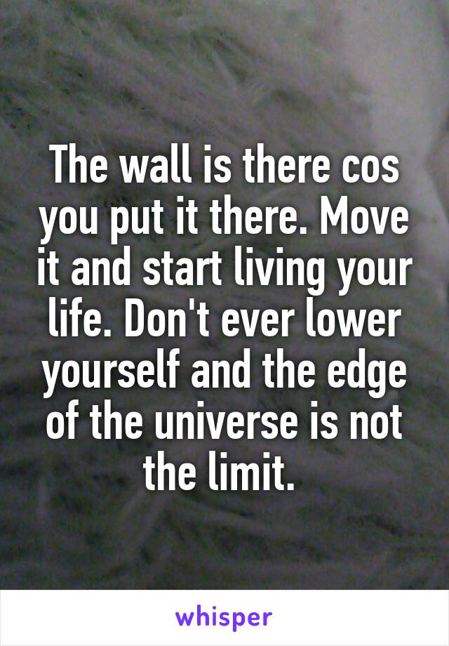 The wall is there cos you put it there. Move it and start living your life. Don't ever lower yourself and the edge of the universe is not the limit.