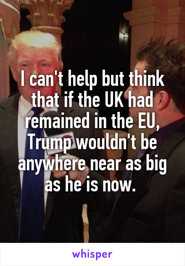 I can't help but think that if the UK had remained in the EU, Trump wouldn't be anywhere near as big as he is now.