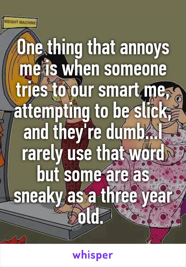 One thing that annoys me is when someone tries to our smart me, attempting to be slick, and they're dumb...I rarely use that word but some are as sneaky as a three year old.