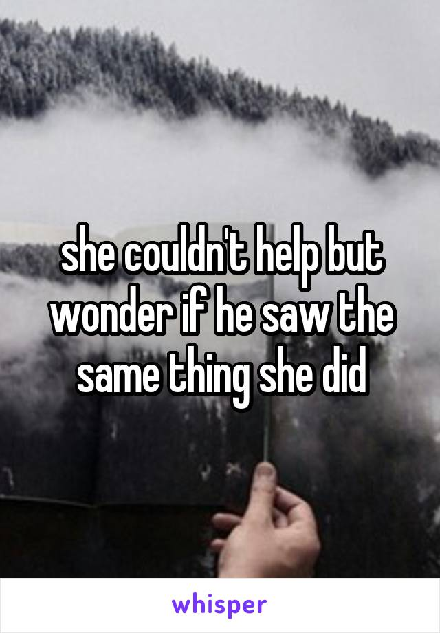 she couldn't help but wonder if he saw the same thing she did