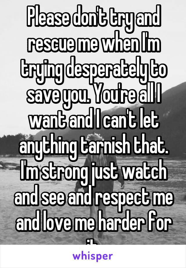 Please don't try and rescue me when I'm trying desperately to save you. You're all I want and I can't let anything tarnish that. I'm strong just watch and see and respect me and love me harder for it.