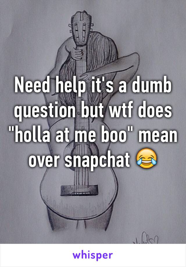 """Need help it's a dumb question but wtf does """"holla at me boo"""" mean over snapchat 😂"""