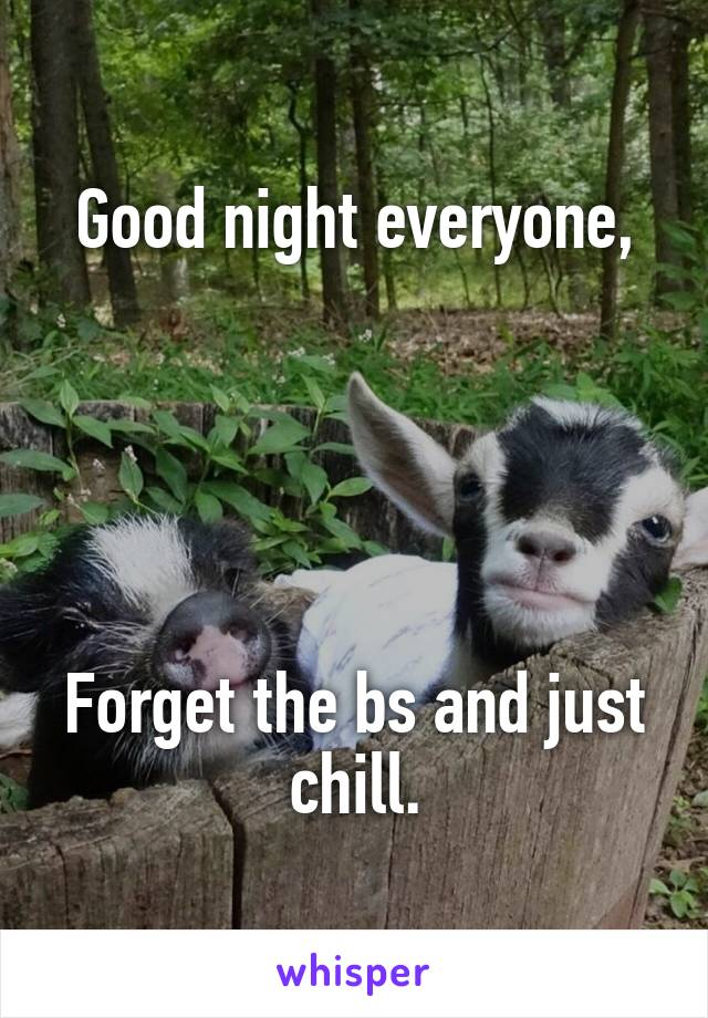 Good night everyone,      Forget the bs and just chill.
