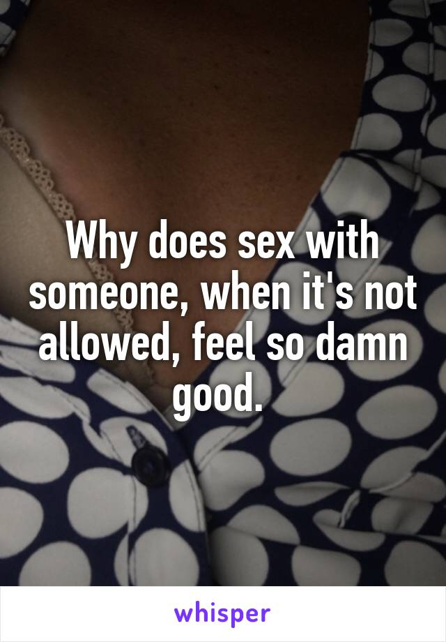 Why does sex with someone, when it's not allowed, feel so damn good.