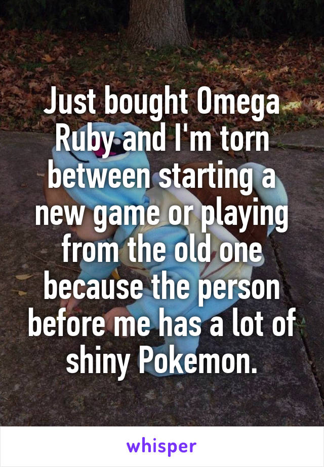 Just bought Omega Ruby and I'm torn between starting a new game or playing from the old one because the person before me has a lot of shiny Pokemon.