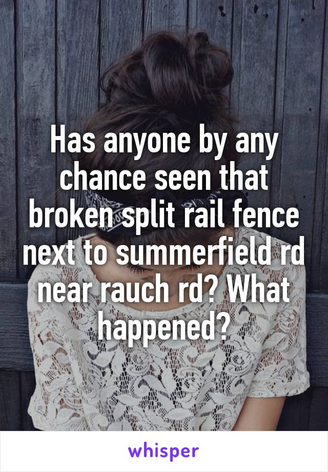 Has anyone by any chance seen that broken split rail fence next to summerfield rd near rauch rd? What happened?