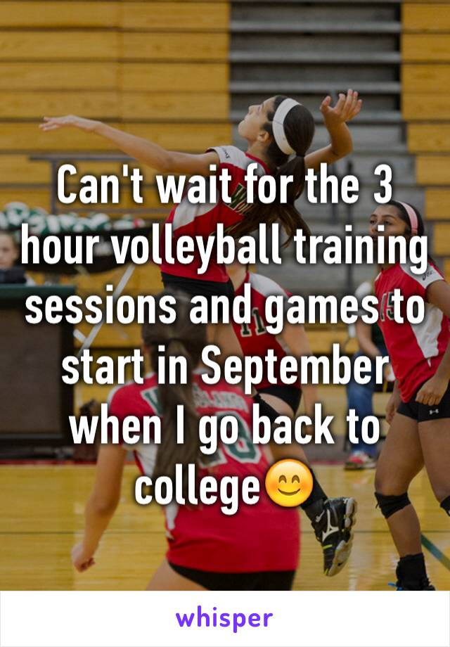 Can't wait for the 3 hour volleyball training sessions and games to start in September when I go back to college😊