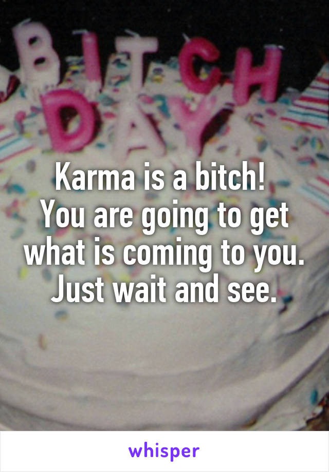Karma is a bitch!  You are going to get what is coming to you. Just wait and see.
