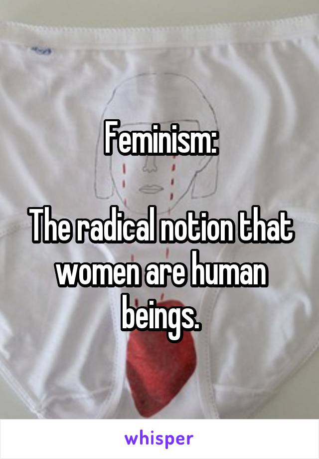 Feminism:  The radical notion that women are human beings.