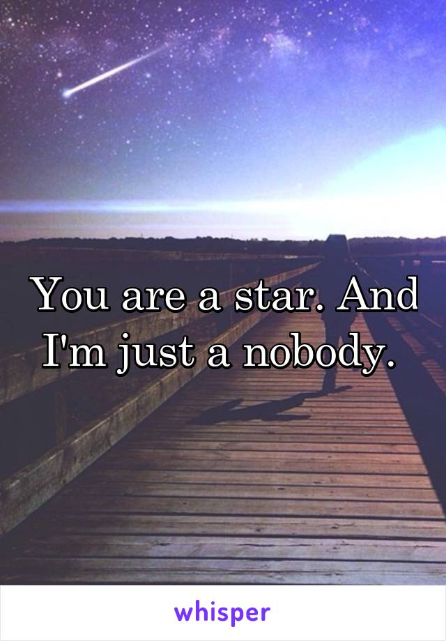You are a star. And I'm just a nobody.