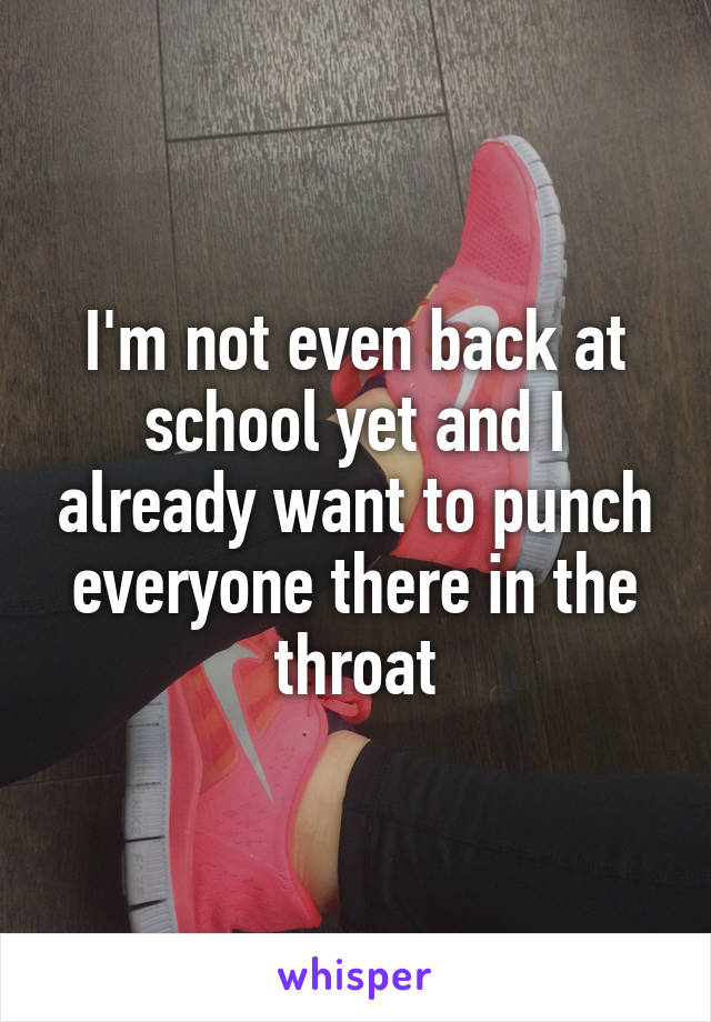 I'm not even back at school yet and I already want to punch everyone there in the throat