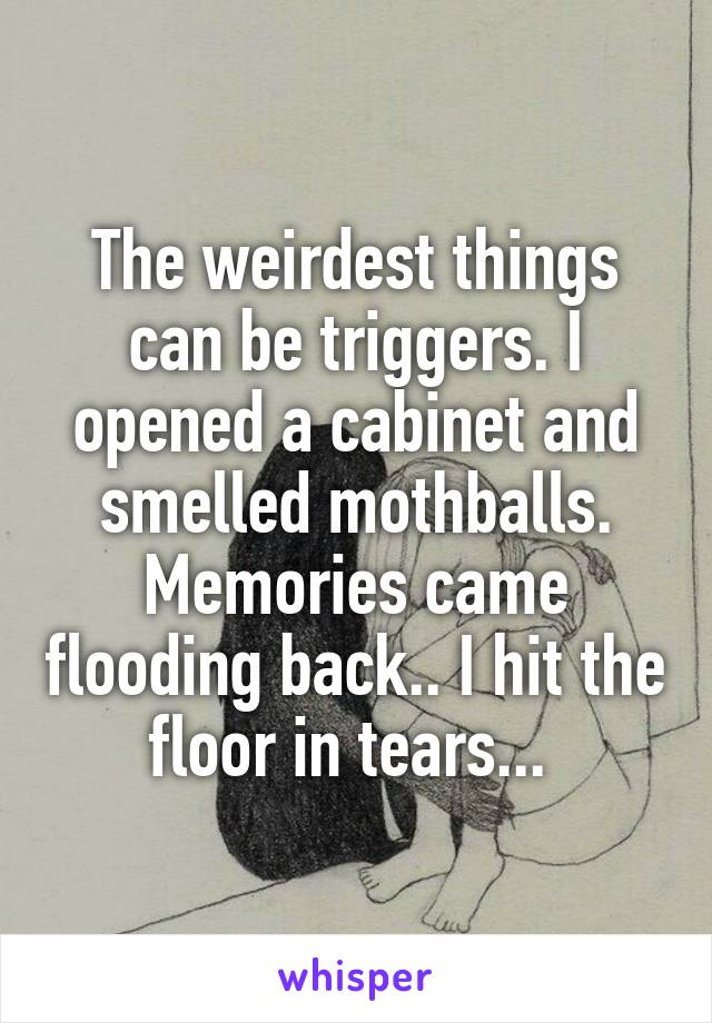 The weirdest things can be triggers. I opened a cabinet and smelled mothballs. Memories came flooding back.. I hit the floor in tears...