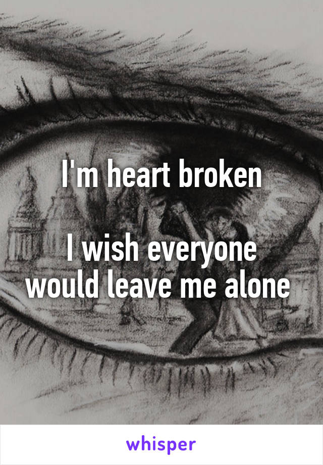 I'm heart broken  I wish everyone would leave me alone