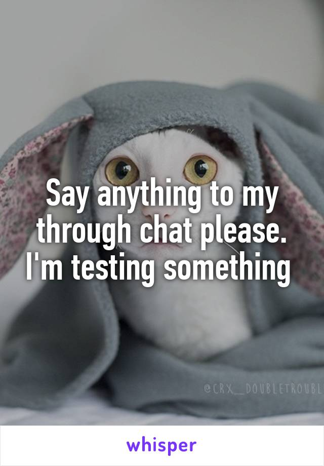 Say anything to my through chat please. I'm testing something