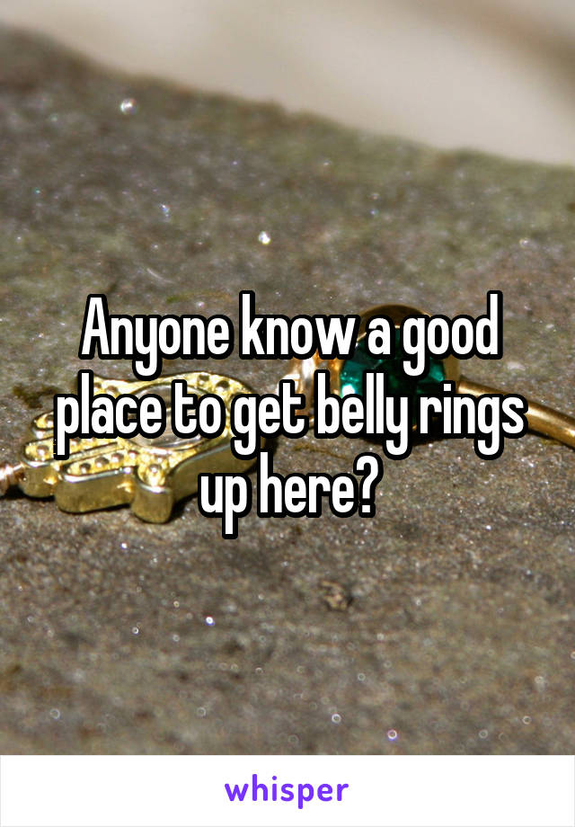 Anyone know a good place to get belly rings up here?