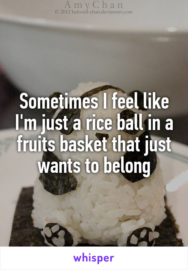 Sometimes I feel like I'm just a rice ball in a fruits basket that just wants to belong