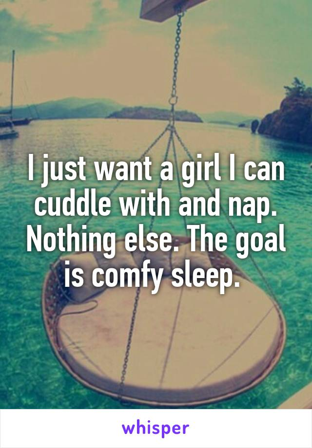 I just want a girl I can cuddle with and nap. Nothing else. The goal is comfy sleep.
