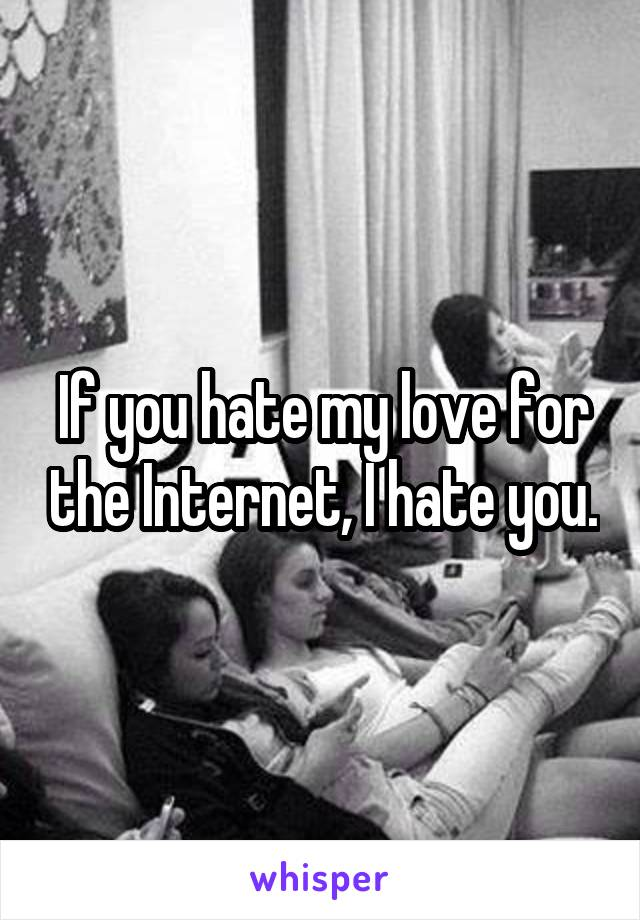 If you hate my love for the Internet, I hate you.