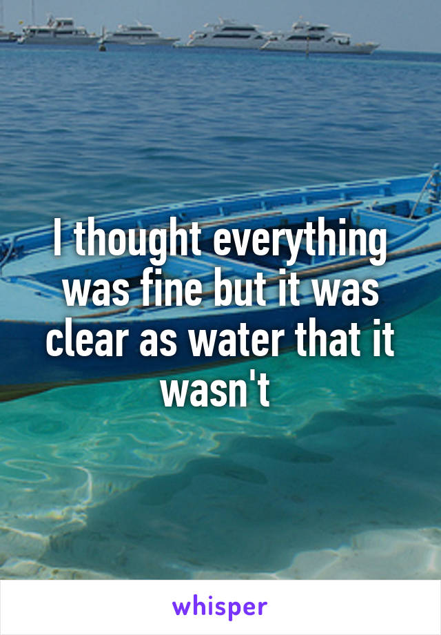 I thought everything was fine but it was clear as water that it wasn't