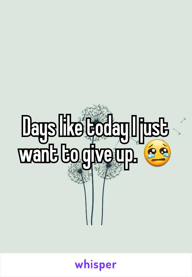 Days like today I just want to give up. 😢