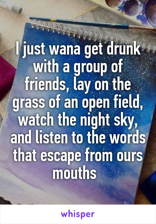 I just wana get drunk with a group of friends, lay on the grass of an open field, watch the night sky, and listen to the words that escape from ours mouths