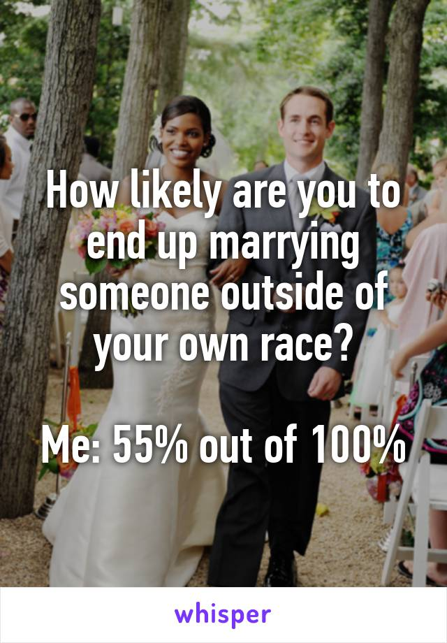 How likely are you to end up marrying someone outside of your own race?  Me: 55% out of 100%