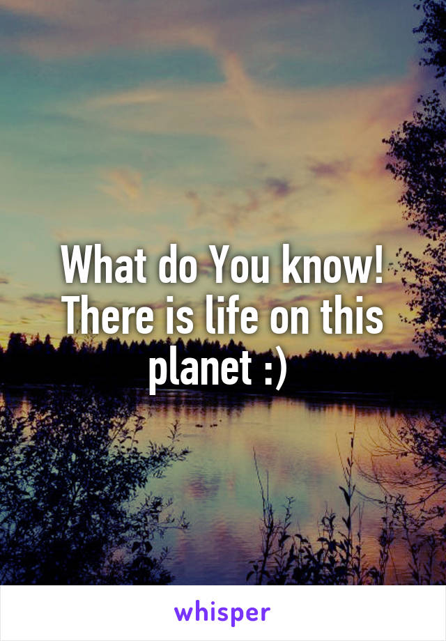 What do You know! There is life on this planet :)