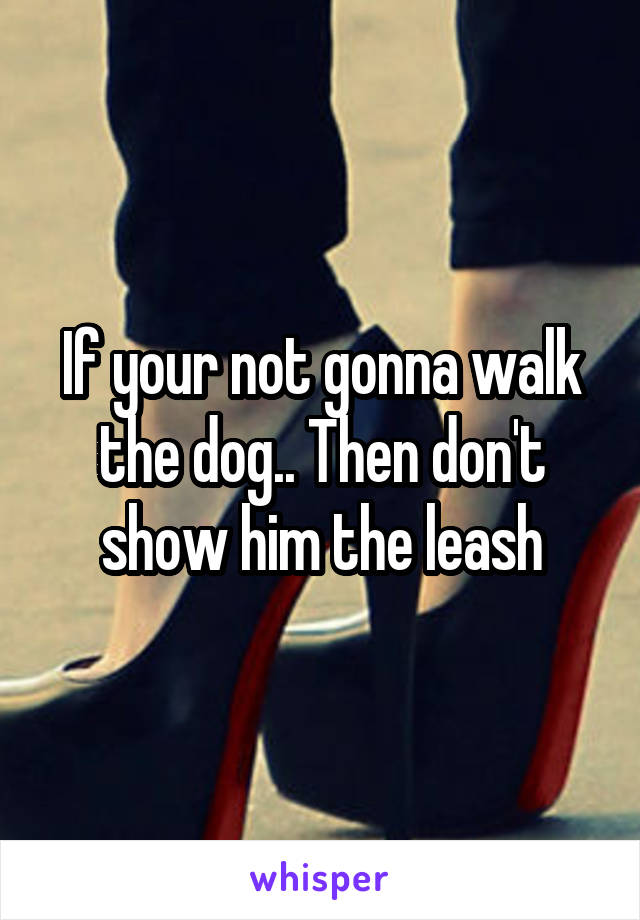 If your not gonna walk the dog.. Then don't show him the leash