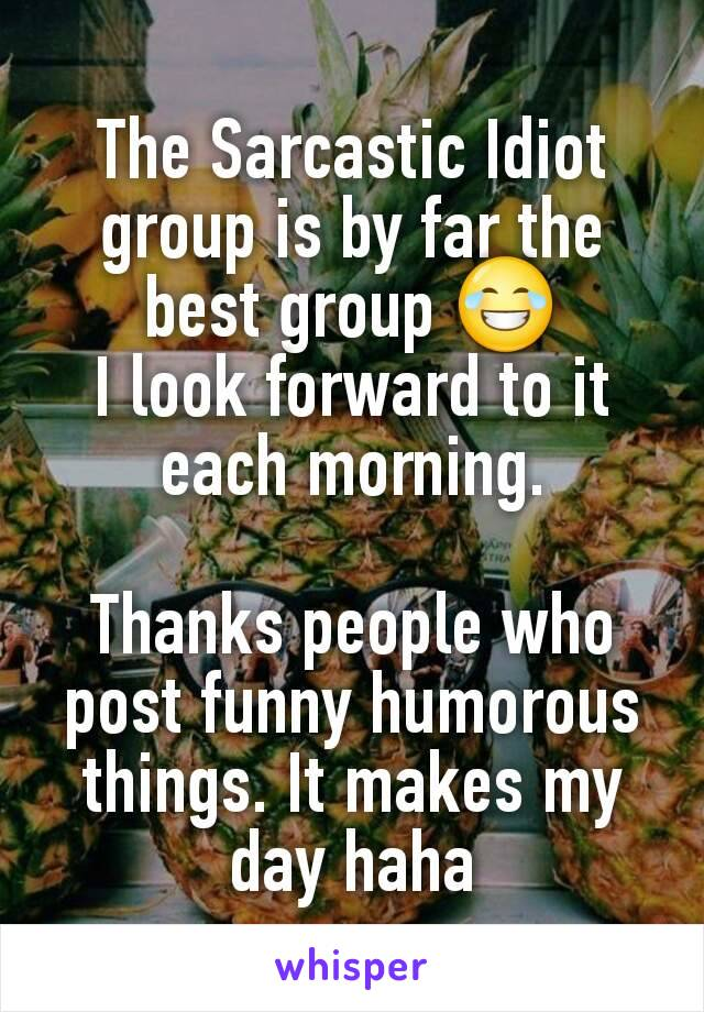 The Sarcastic Idiot group is by far the best group 😂 I look forward to it each morning.  Thanks people who post funny humorous things. It makes my day haha