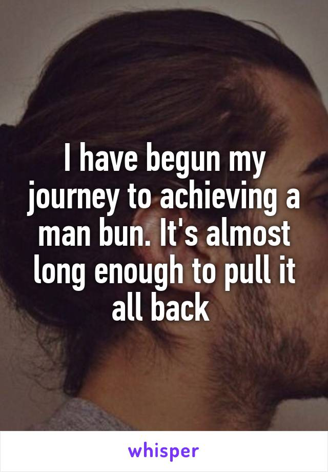 I have begun my journey to achieving a man bun. It's almost long enough to pull it all back