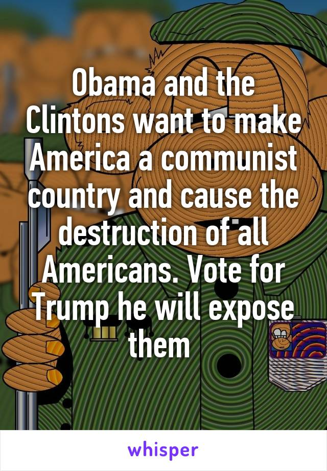 Obama and the Clintons want to make America a communist country and cause the destruction of all Americans. Vote for Trump he will expose them