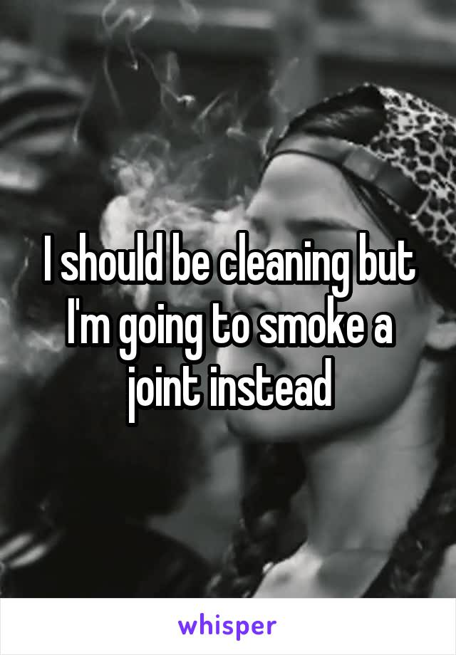 I should be cleaning but I'm going to smoke a joint instead