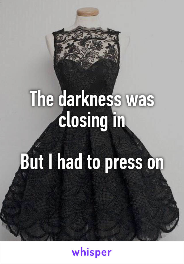 The darkness was closing in  But I had to press on