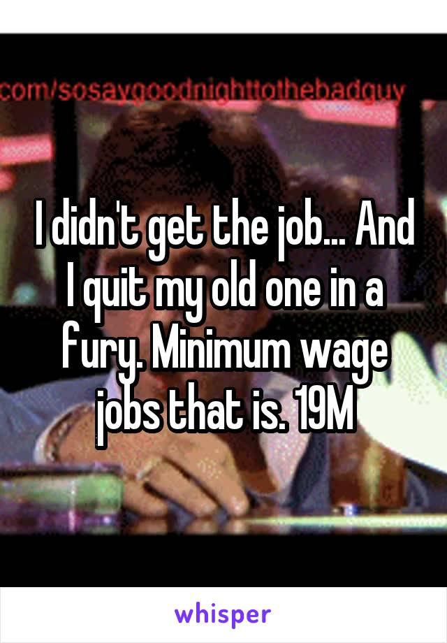 I didn't get the job... And I quit my old one in a fury. Minimum wage jobs that is. 19M