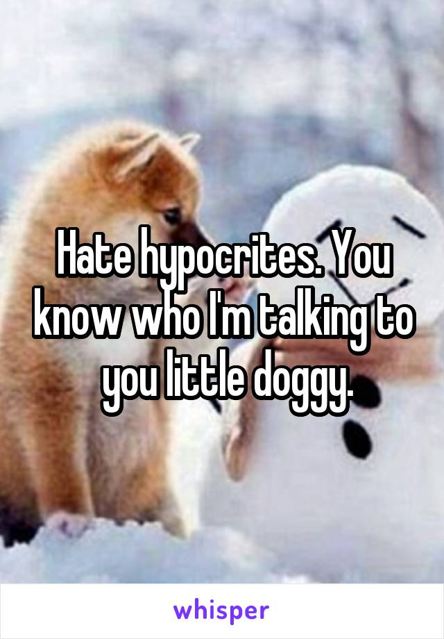 Hate hypocrites. You know who I'm talking to  you little doggy.