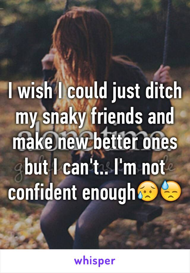 I wish I could just ditch my snaky friends and make new better ones but I can't.. I'm not confident enough😥😓