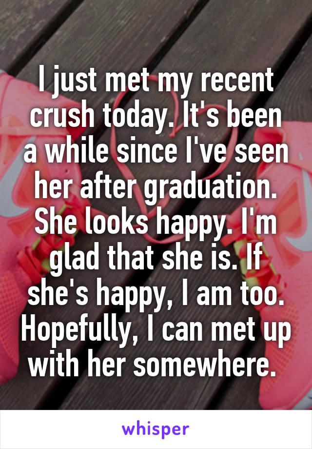 I just met my recent crush today. It's been a while since I've seen her after graduation. She looks happy. I'm glad that she is. If she's happy, I am too. Hopefully, I can met up with her somewhere.