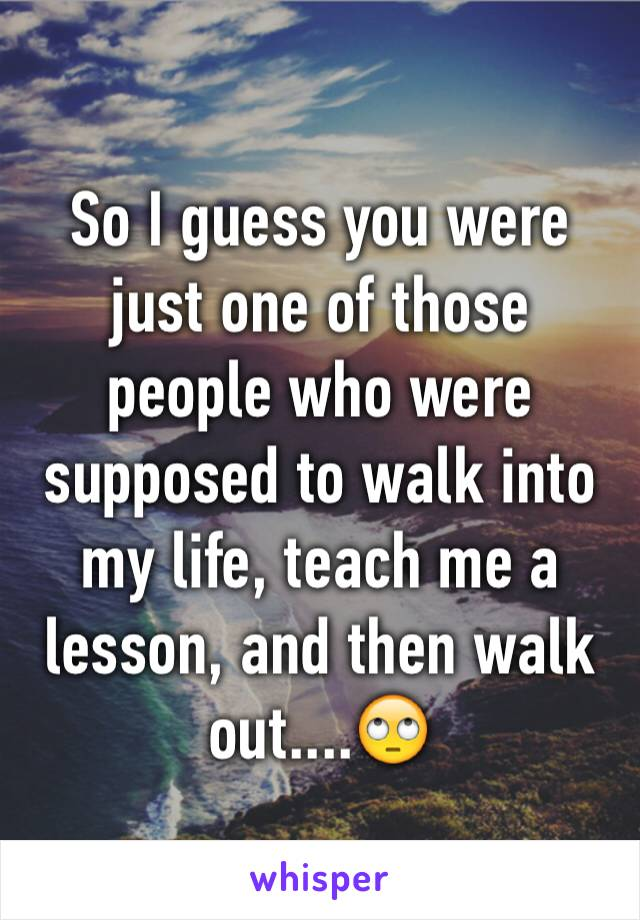 So I guess you were just one of those people who were supposed to walk into my life, teach me a lesson, and then walk out....🙄