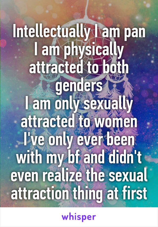 Intellectually I am pan I am physically attracted to both genders I am only sexually attracted to women I've only ever been with my bf and didn't even realize the sexual attraction thing at first