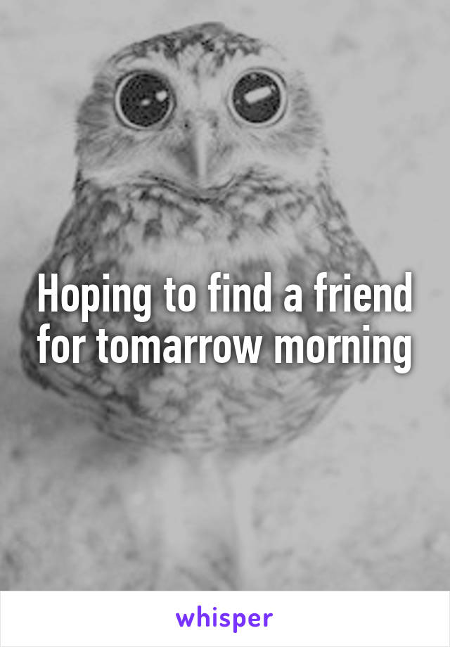 Hoping to find a friend for tomarrow morning