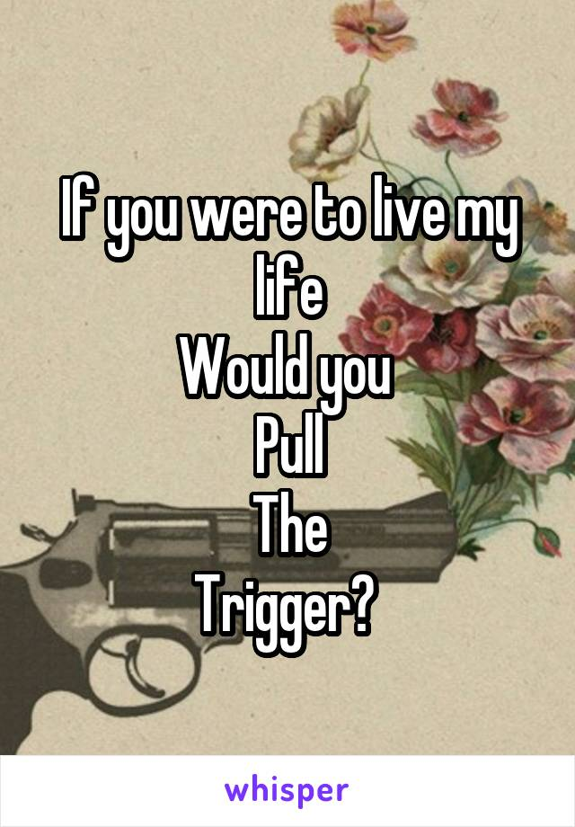 If you were to live my life Would you  Pull The Trigger?