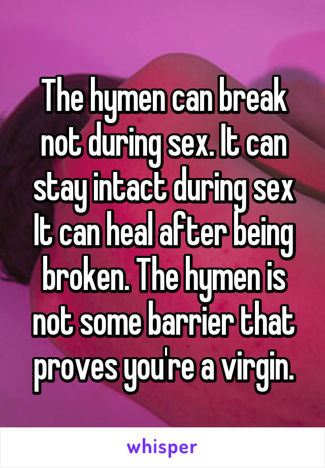How to break hymen during sex